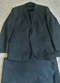 "BEN SHERMAN BLACK PINSTRIPED SUIT 46"" CHEST 38"" WAIST ~33.5 LENGTH~ONLY WORN TWICE"
