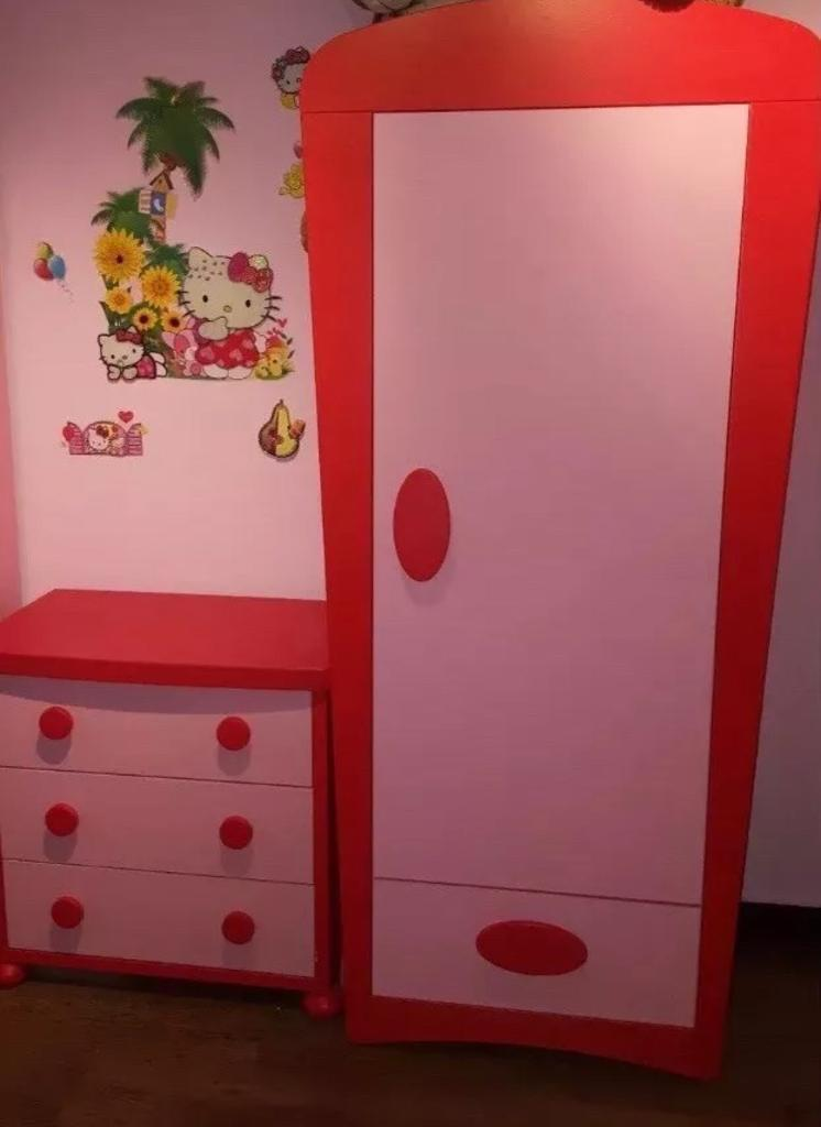 Ikea Mammut Pink Red Wardrobe Chest Of Drawers Bedroom Set