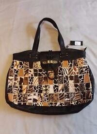 NEW, never used Malissa J Leather & Faux Leather, Black & Animal-print, Handbag