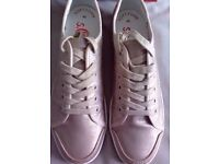 LADIES S.OLIVER CHAMPAGNE METALLIC PLIMSOLL TRAINERS, UK SIZE 7, RRP £49.99, BRAND NEW IN BOX
