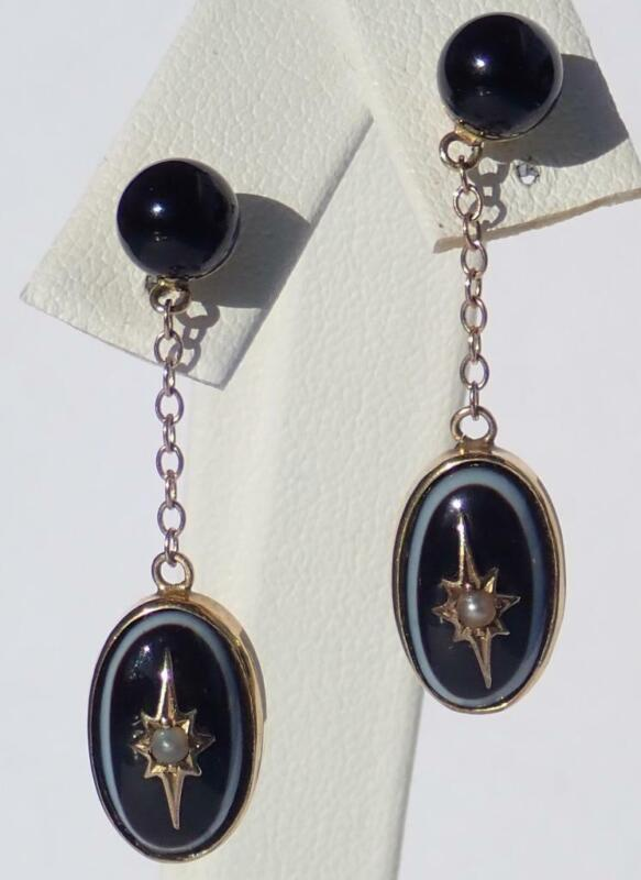 Fine Antique Victorian 9K Gold Banded Agate Seed Pearl Starburst Dangle Earrings