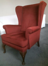 Velour Wingback Armchair in Brick Red/Maroon