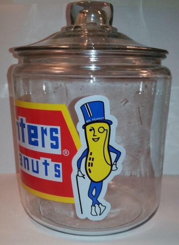 "Planters Peanut "" Mr Peanut "" Glass Counter Jar"