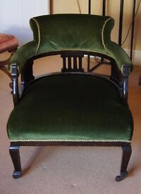 Antique Green Velvet Arm Chair - Very Comfortable