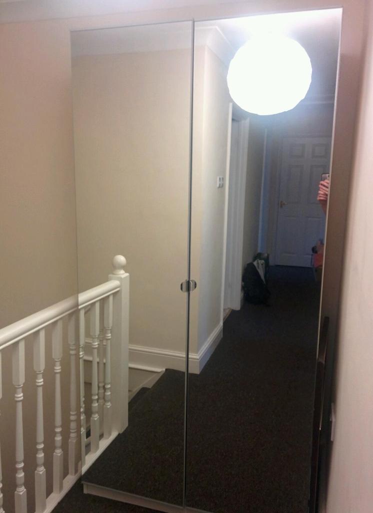 IKEA Vikedal Full Mirror x2 Door PAX Wardrobe White w