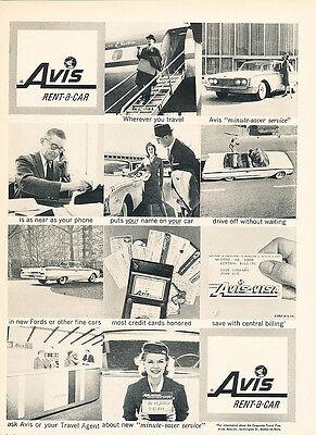 1960 Ford Avis Rental Scene    Original Car Advertisement Print Ad J140
