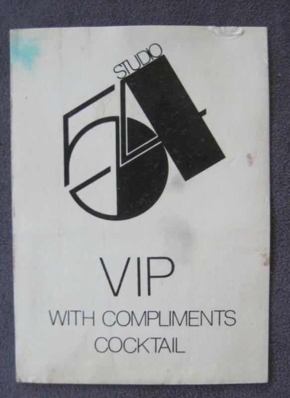"Vintage Studio 54 VIP Complimentary 2.5"" X 3.5""  Cocktail Ticket"