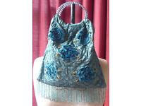 Blue beaded handbag