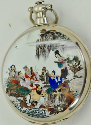 Unique qing dynastie jacot, le locle chinois duplex silver&enamel poche montre