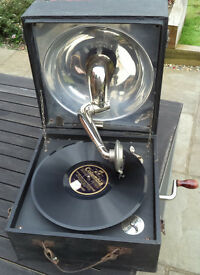 Decca antique portable wind-up gramophone