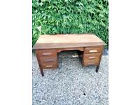 Solid wood pedestal office writing desk in good condition