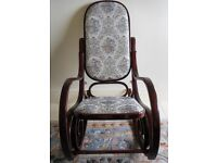 Vintage Bentwood Rocking Chair with Padded Tapestry Seat