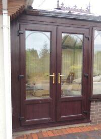 Brown UPVC double glazed conservatory doors