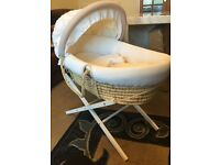 Moses basket with stand, sheets and blankets