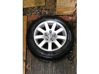"""Genuine VW 15"""" alloy wheel and tyre. Volkswagen excellent condition."""