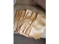 10 gold coloured satin chair sashes
