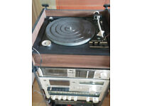 Used Audio system in rack, T/Table, 2 Casette tape decks, JVC Stereo reciever, CD unit, Graphic EQ
