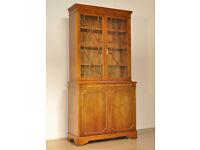 Attractive Vintage Yew Double Door Bookcase Display Over Base Cabinet Cupboard
