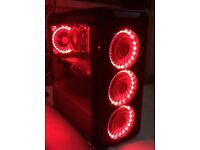 Fierce gaming pc 1TB with LED lights plus moniter, keyboard, mouse and surround sound razor headset.