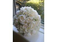 New handmade bridal bouquet of silk flowers