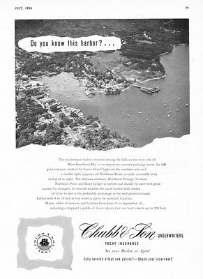 1954  West Penobscot Bay Maine Aerial photo Chubb & Son Yacht Insurance impress ad