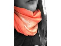 Ladies Pink / Coral Shiny Scarf