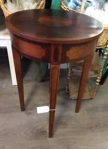 Round Top Wood Inlay Table