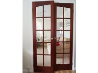 Internal French Doors: hardwood, glazed (bevelled glass) and ready to hang