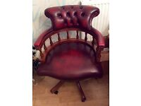 BEAUTIFUL RED REAL LEATHER CAPTAINS CHAIR VINTAGE