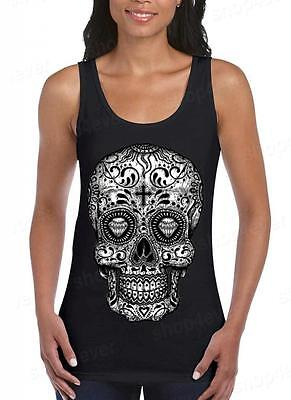Sugar Skull B&W Women's Tank Top Day of the Dead Los Muertos Halloween Shirts](Day Of The Dead Women)