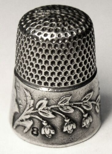 """Antique Ketcham & McDougall Sterling Silver Thimble  """"Lily Of The Valley""""  D1881"""