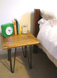 Bespoke handmade wooden bed side table. 40 x 40. Industrial retro, hairpin legs