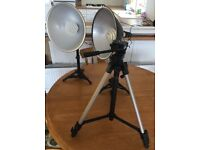 Pair of table top lamps and Velbon Camera Tripod