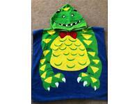 Kids over the head beach/swim towel crocodile design