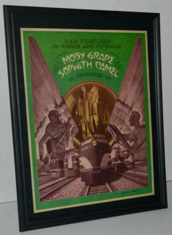 MOBY GRAPE SOPWITH CAMEL NOVEMBER 1977  FRAMED PROMOTIONAL POSTER / AD