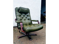 Lovely Scandinavian retro style green leather swivel recliner chair DELIVERY AVAILABLE