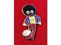 An Original Robertsons Pre-War Golly Footballer Badge/Brooch (Red & White Ball) MILLER c1920s/30s