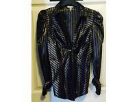 River Island black shiny shirt in size 8-10 S ZARA style H&M Gucci LV TOPSHOP
