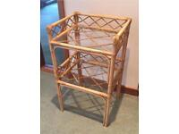 Bamboo side table with two glass shelves. Lovely conservatory furniture
