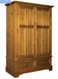 Rossendale Double Pine Wardrobe with Drawers
