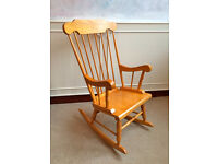 Solid Beech Wood Traditional Rocking Bedroom Occasional Chair Farmhouse Nursing