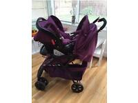 OBaby Monty Travel System with car seat, raincover.