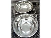 Stainless Steel CAT/KITTEN/DOG/PUPPY double bowl dishes with stand