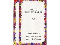 Photo Inkjet Paper A3/A4 Large supply - see description