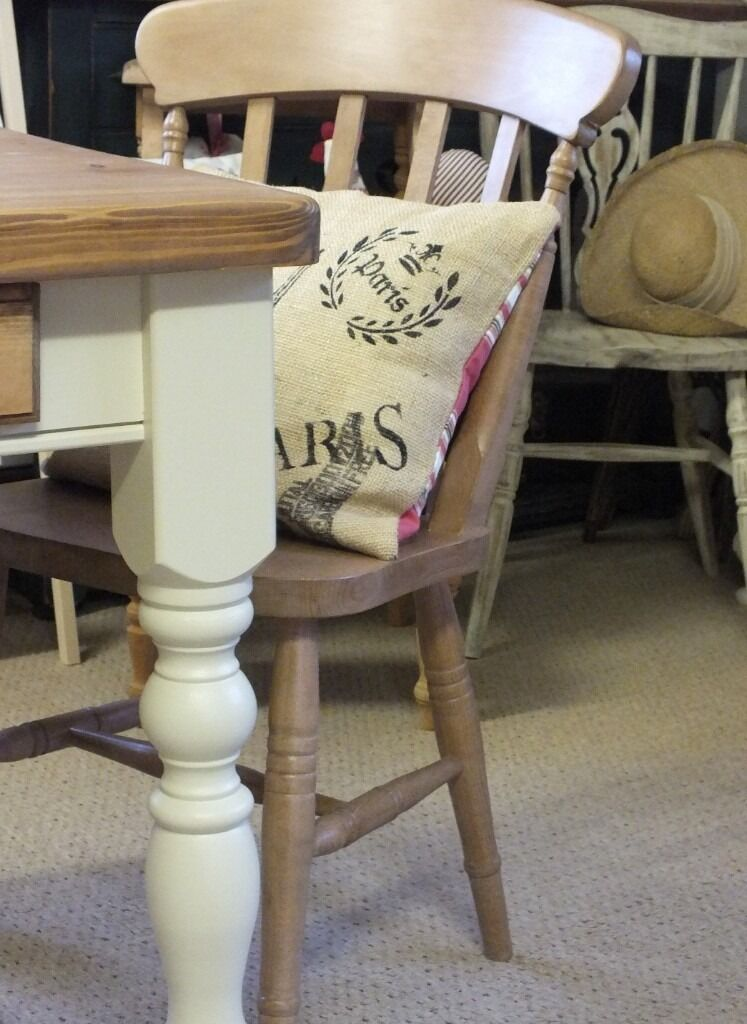 """Lovely Shabby Chic Rustic Style Pine Farmhouse Kitchen Table and Two Brand New Chairsin Scunthorpe, LincolnshireGumtree - Lovely Chunky Rustic Style Pine Shabby Chic Kitchen Dining Table with Drawer and Two Chairs. The last two photos were taken in natural daylight which shows it in a true colour! Measures 2 6""""x 24"""" and standard height. This lovely smaller farmhouse..."""