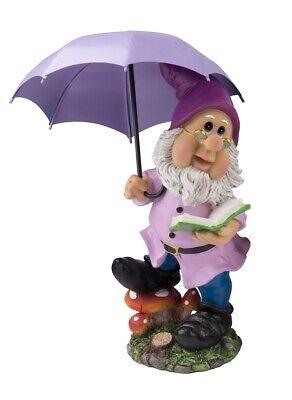 Gartenzwerg mit Schirm Lila 38,5 cm hoch Figuren für Haus und Garten Gnom Figur
