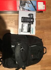 Canon 70D camera Bundle ( 18-135mm & 50mm lenses, manfrotto, backpack, memory card, luma loop)