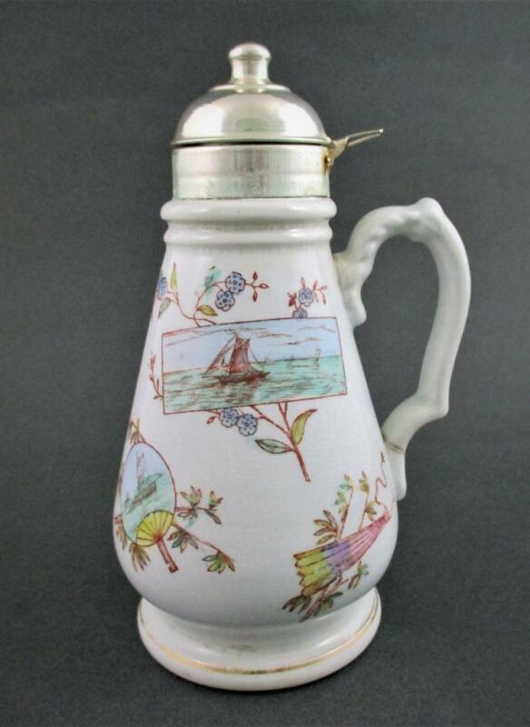 Antique AESTHETIC Ironstone SYRUP pitcher JUG - Knowles, Taylor & Knowles c.1890