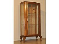 Attractive Small Vintage Art Deco Burr Walnut Single Door Display Cabinet