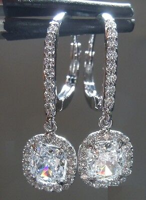 2.50CT CUSHION CUT BRIDAL DANGLE DIAMOND EARRING 14KT SOLID WHITE GOLD
